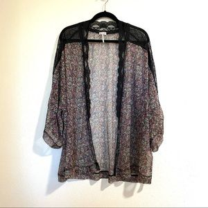 Intimately Free People Floral Kimono with Lace details